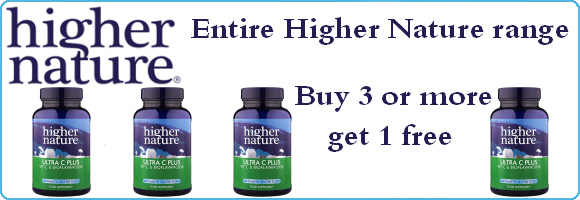 Buy 3 or more, get 1 free on the entire Higher Nature range